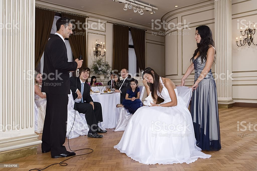 Quinceanera girl being embarrassed stock photo
