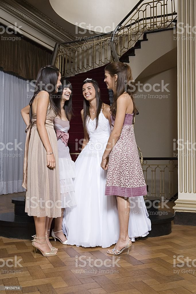 Quinceanera with friends royalty-free 스톡 사진