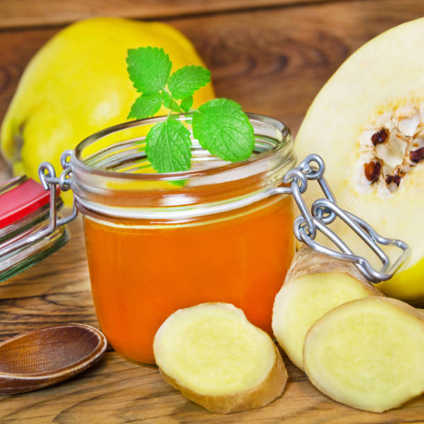 quitten und ingwer marmelade - ingwermarmelade stock-fotos und bilder