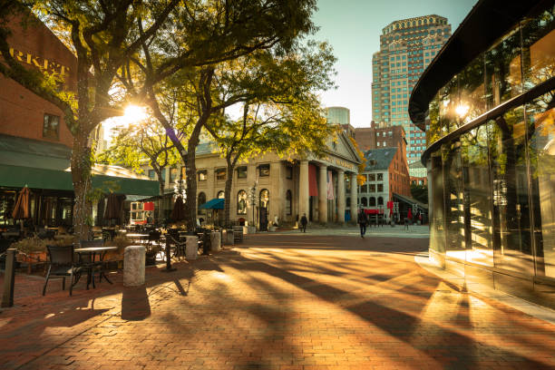 Quincy Market along the Freedom Trail in Boston USA stock photo