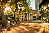 Morning view of Quincy Market along the Freedom Trail across from the Great Hall of Faneuil Square in Boston Massachusetts USA