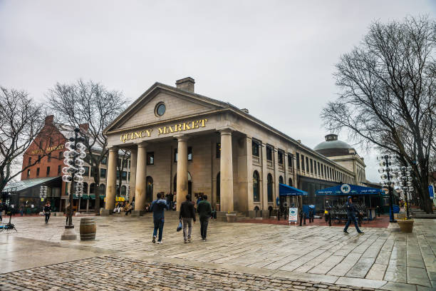 quincy market at faneuil hall marketplace of downtown boston - alaska us state stock photos and pictures