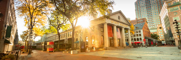 Quincy Market panorama along the Freedom Trail in Boston USA stock photo