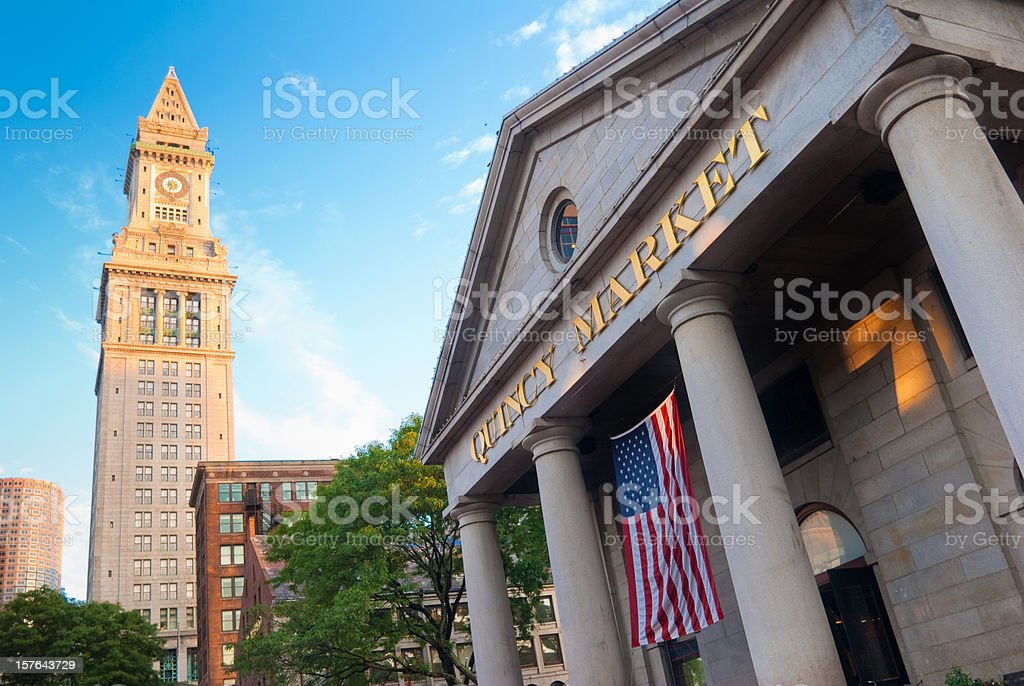 Quincy Market with Custom House Tower in Boston, MA royalty-free stock photo