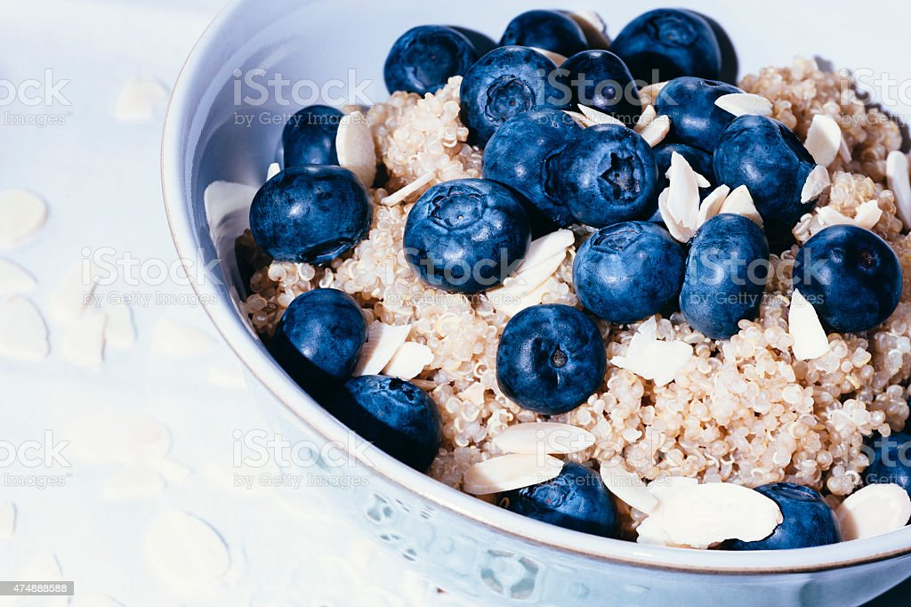 Quinoa and blueberry breakfast stock photo