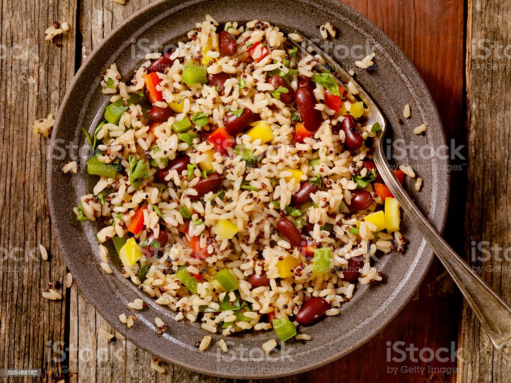 Quinoa and Brown Rice Salad stock photo