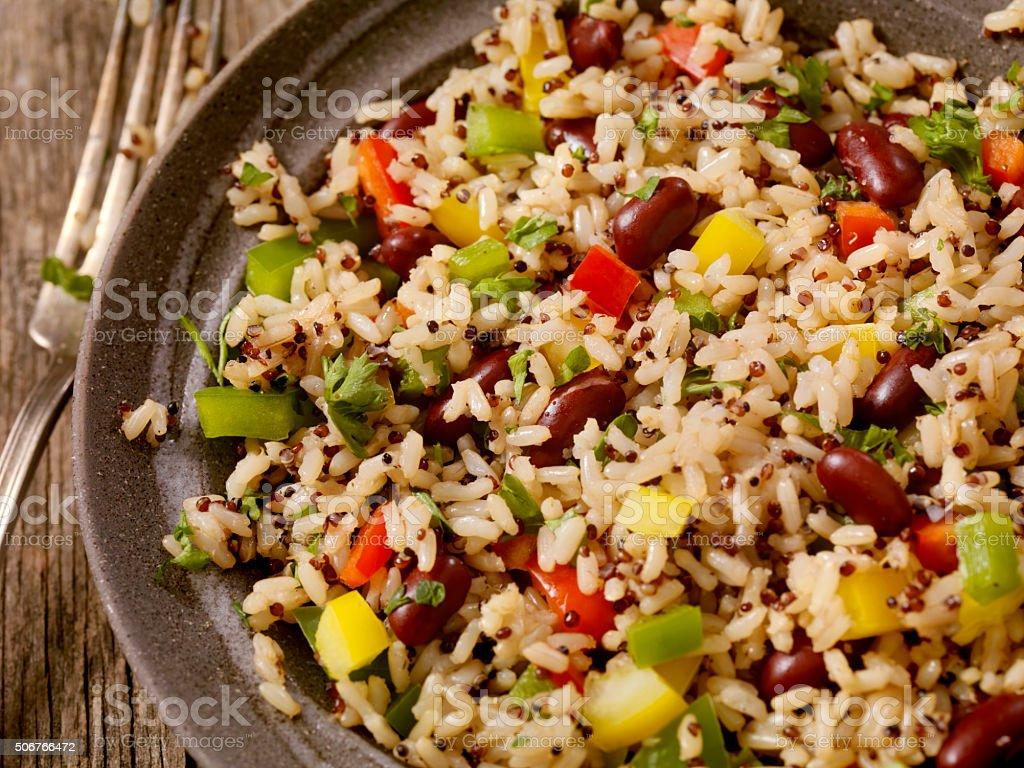 Quinoa and Brown Rice Salad stock photo