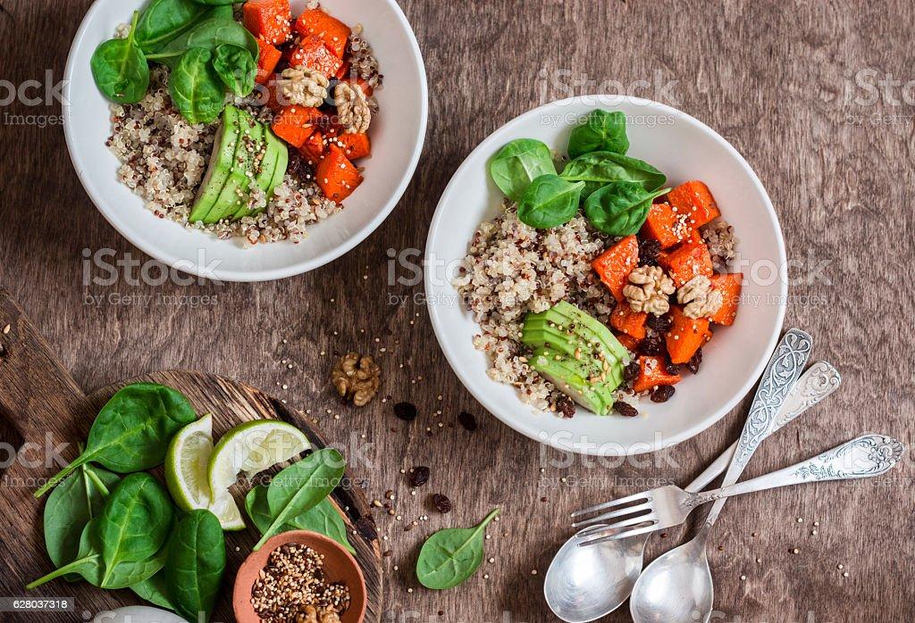 Quinoa and pumpkin bowl. Vegetarian, healthy, diet food concept stock photo