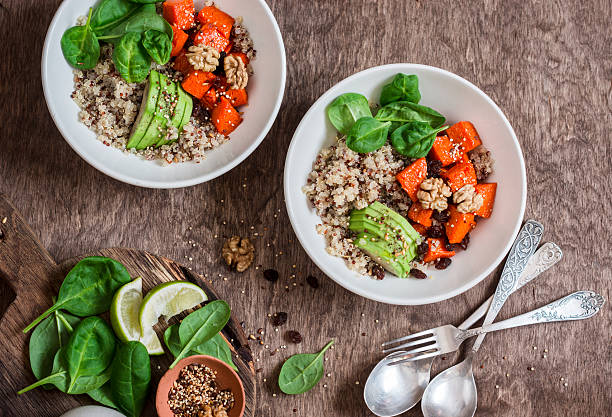 Quinoa and pumpkin bowl. Vegetarian, healthy, diet food concept stock photo