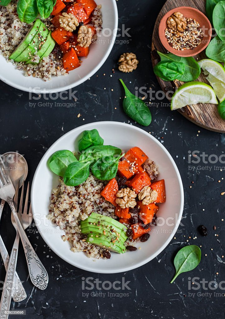 Quinoa and pumpkin bowl. Vegetarian, healthy, diet food. stock photo