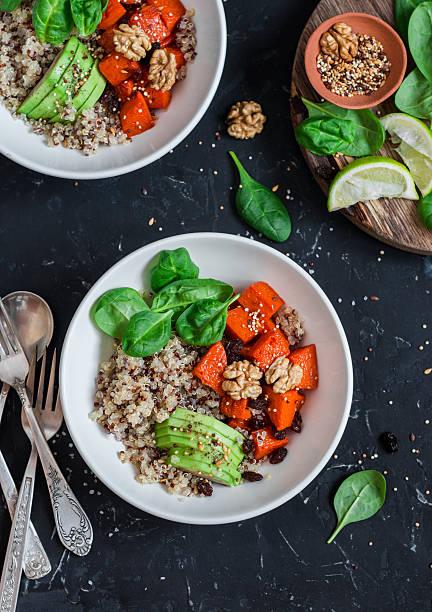 quinoa and pumpkin bowl. vegetarian, healthy, diet food. - ローフード ストックフォトと画像