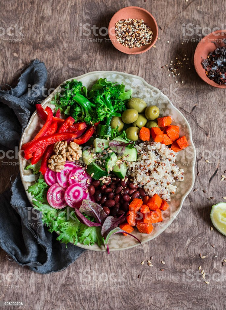 Quinoa and veggies bowl. Healthy, vegetarian, diet food concept stock photo