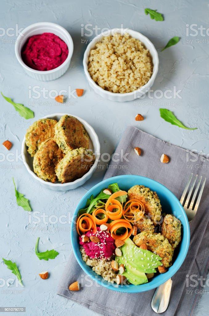 Quinoa Beet Hummus Falafel Bowl stock photo