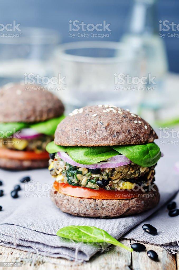 quinoa black bean spinach corn burgers with black beans bun crust stock photo