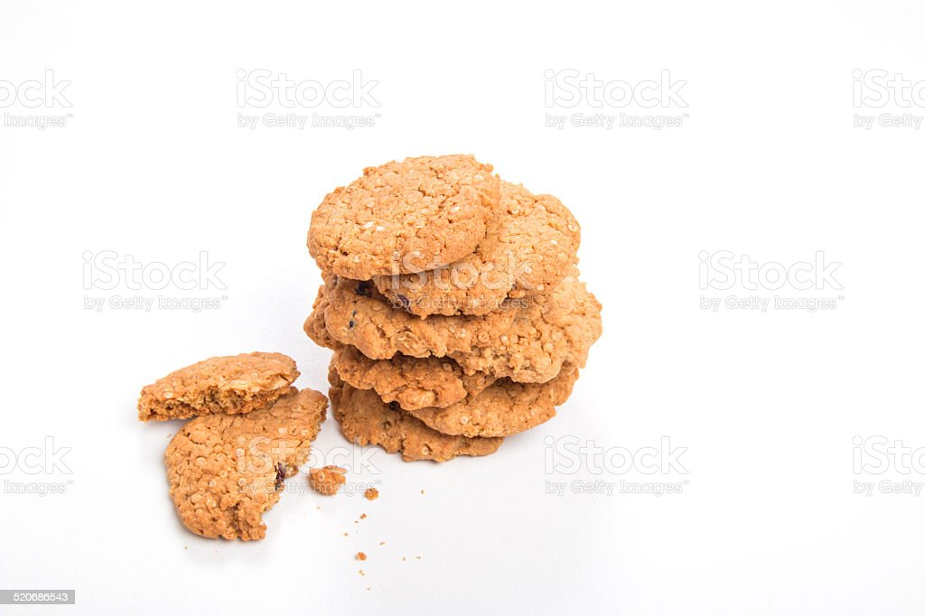 Quinoa cranberry and white chocolate cookies/biscuits in a stack stock photo