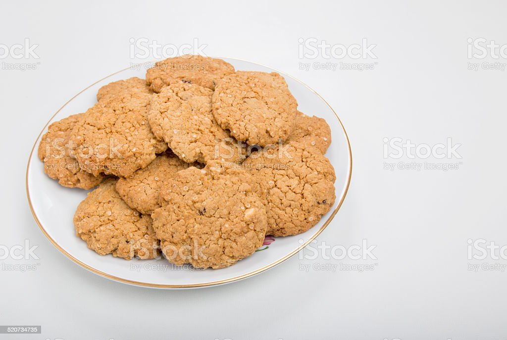 Quinoa cranberry and white chocolate cookies/biscuits stock photo