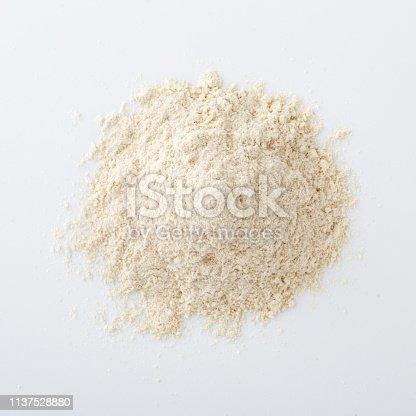 Quinoa flour on white background