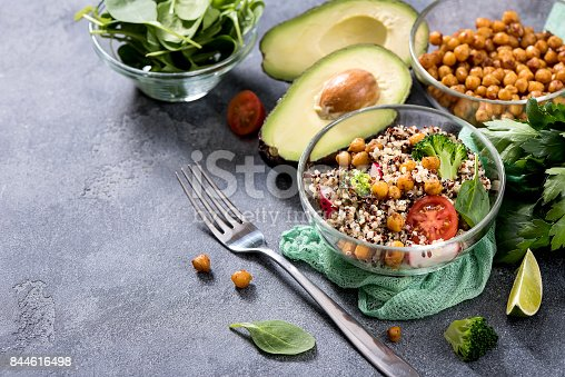 istock Quinoa salad with chickpeas, spinach, avocado and veggies, healthy vegan food, dieting, clean eating, vitamin and protein snack 844616498