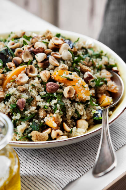 Quinoa salad with dried fruits,Quinoa salad and apricot, stock photo