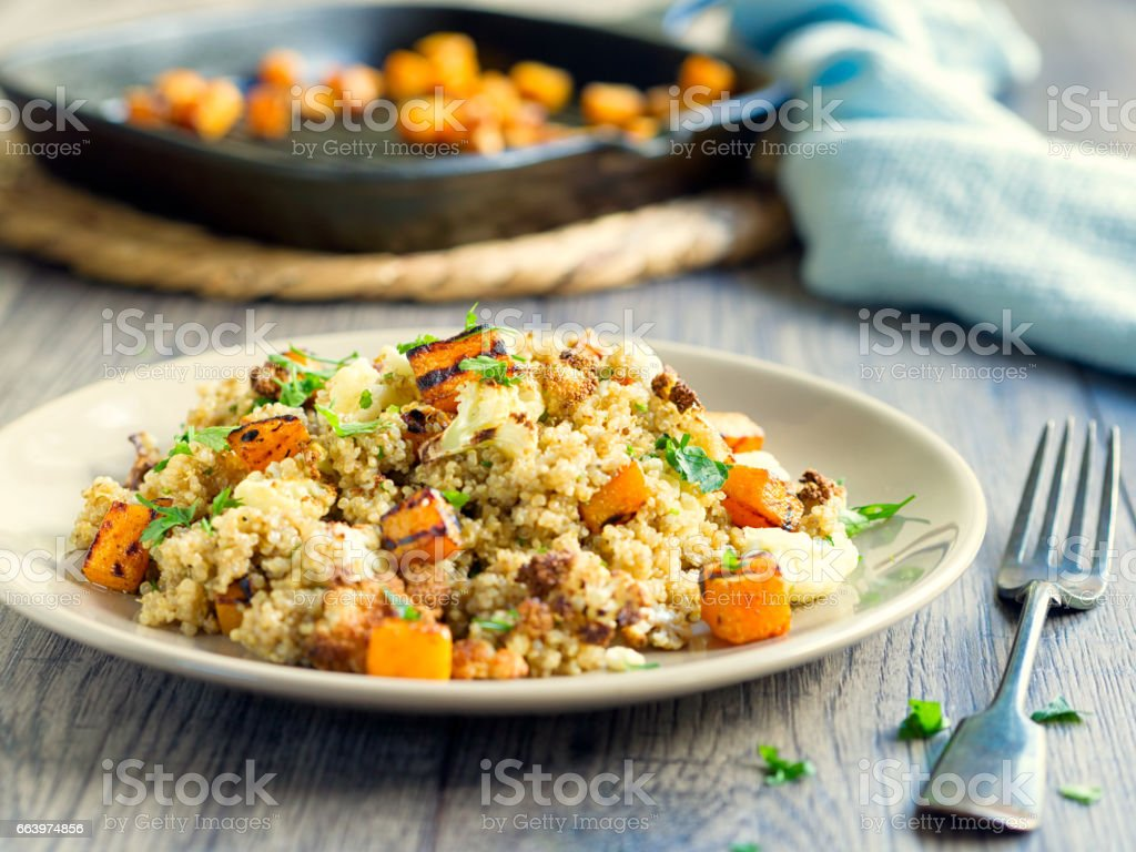 quinoa salad with roasted cauliflower,butternut squash stock photo