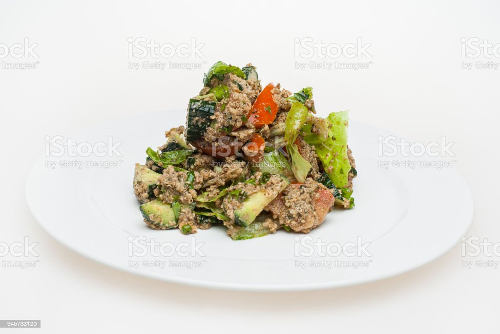 Quinoa salad with vegetables. Superfood concept stock photo