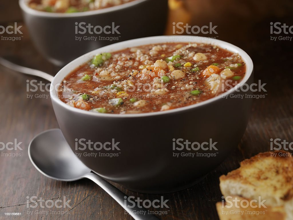 Quinoa Vegetable Soup with Chickpeas stock photo