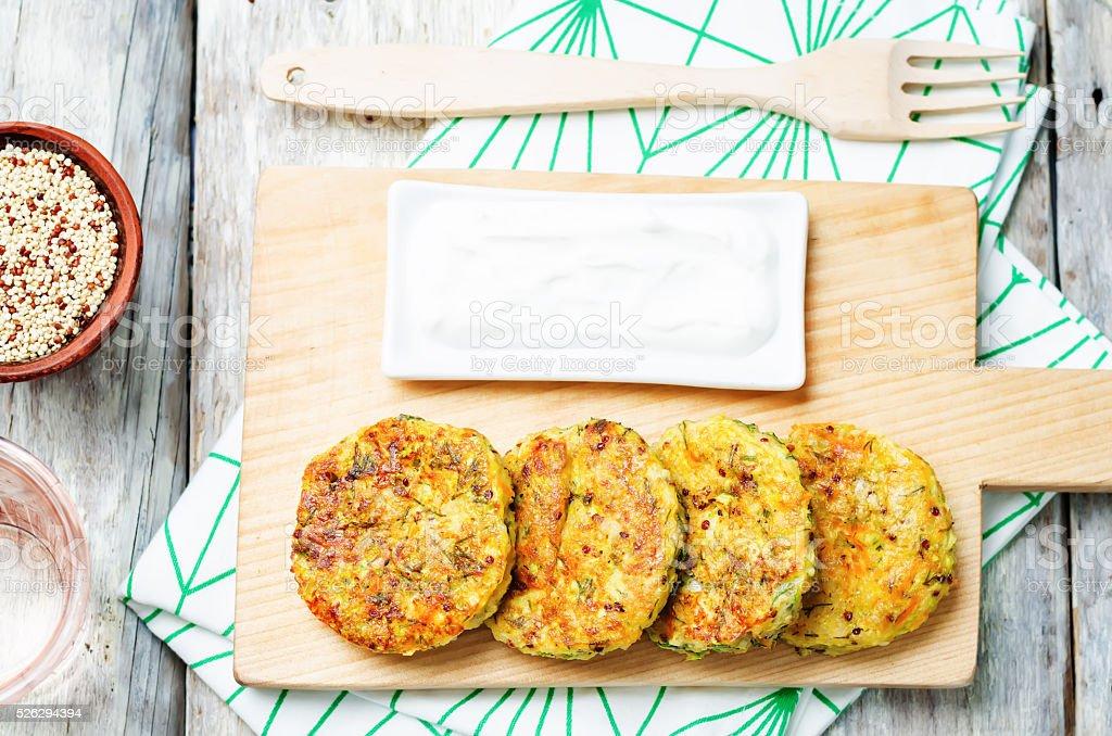 Quinoa Zucchini feta dill fritters stock photo