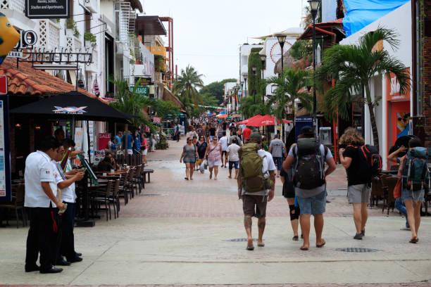 quinta avenida - playa del carmen stock photos and pictures