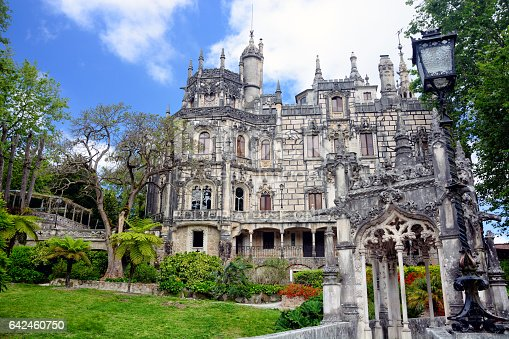 The main facade of the Quinta da Regaleira is an palace located near the historic center of Sintra, Portugal. World Heritage Site by UNESCO