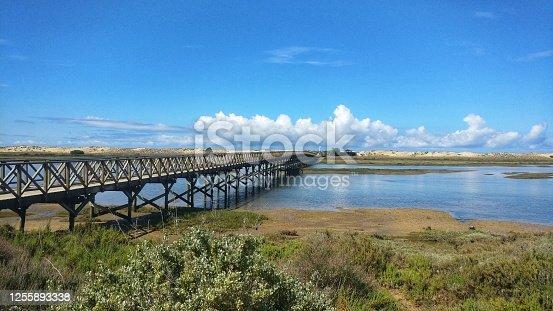 The bridge in Quinta do Lago over the Ria Formosa. Portugal.