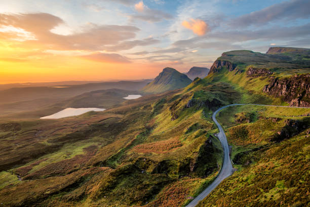 quiraing at sunrise. - landscape scenery stock pictures, royalty-free photos & images