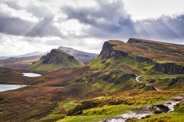 Quiraing, Isle of Skye, Scotland, United Kingdom stock photo