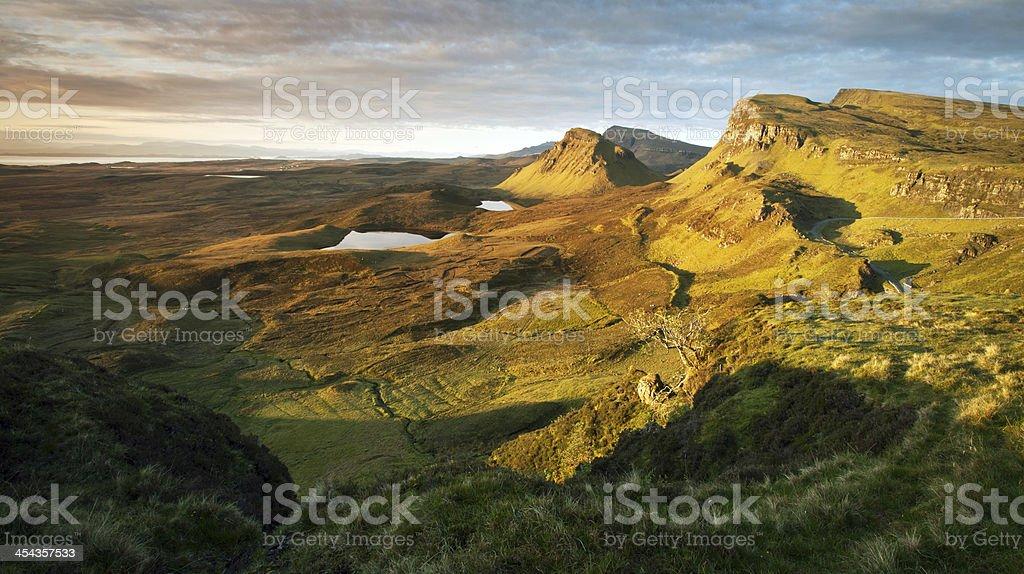 Quiraing Landscape at Dawn stock photo