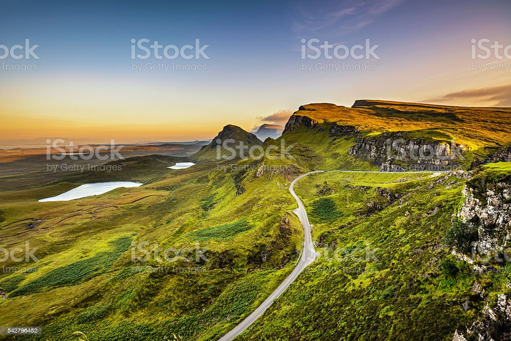 Quiraing mountains sunset stock photo