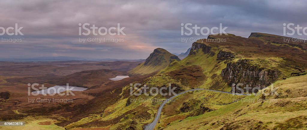 Quirang sunrise in the Island of Skye stock photo