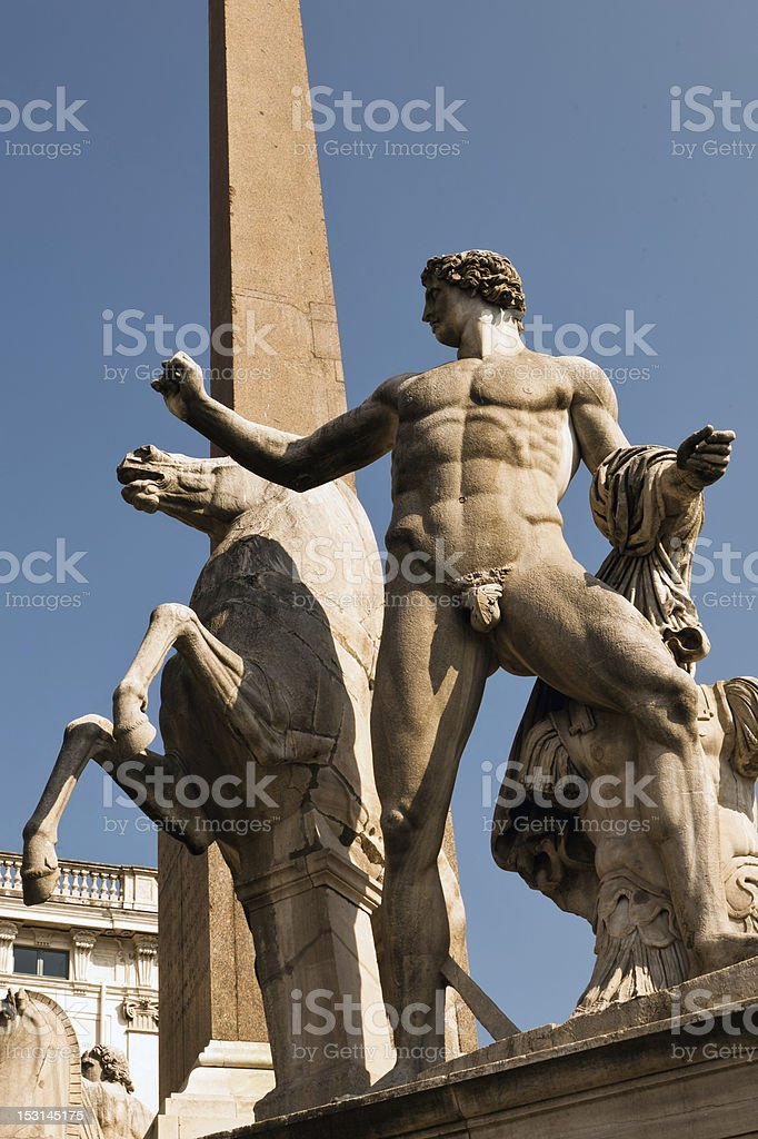 Quirinal obelisk with Roman statues of Castor and Pollux stock photo