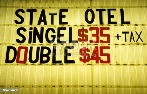 Quirky sign from an American roadway motel includes prices and some misspellings
