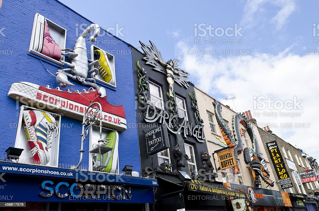 Quirky shop fronts on Camden High Street, London stock photo