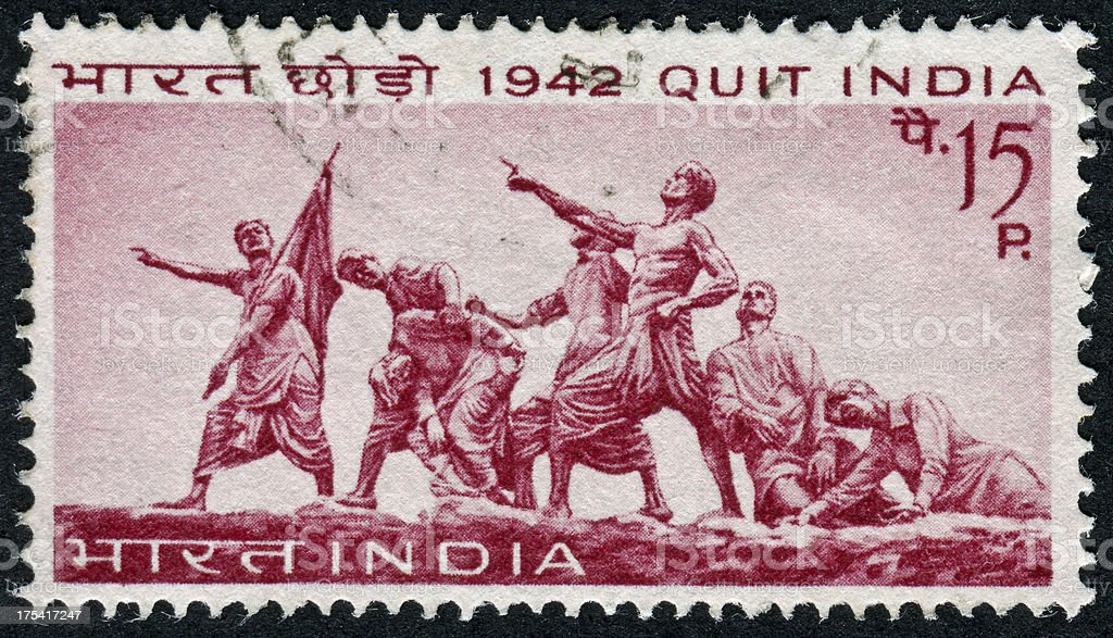 Quit India Stamp stock photo