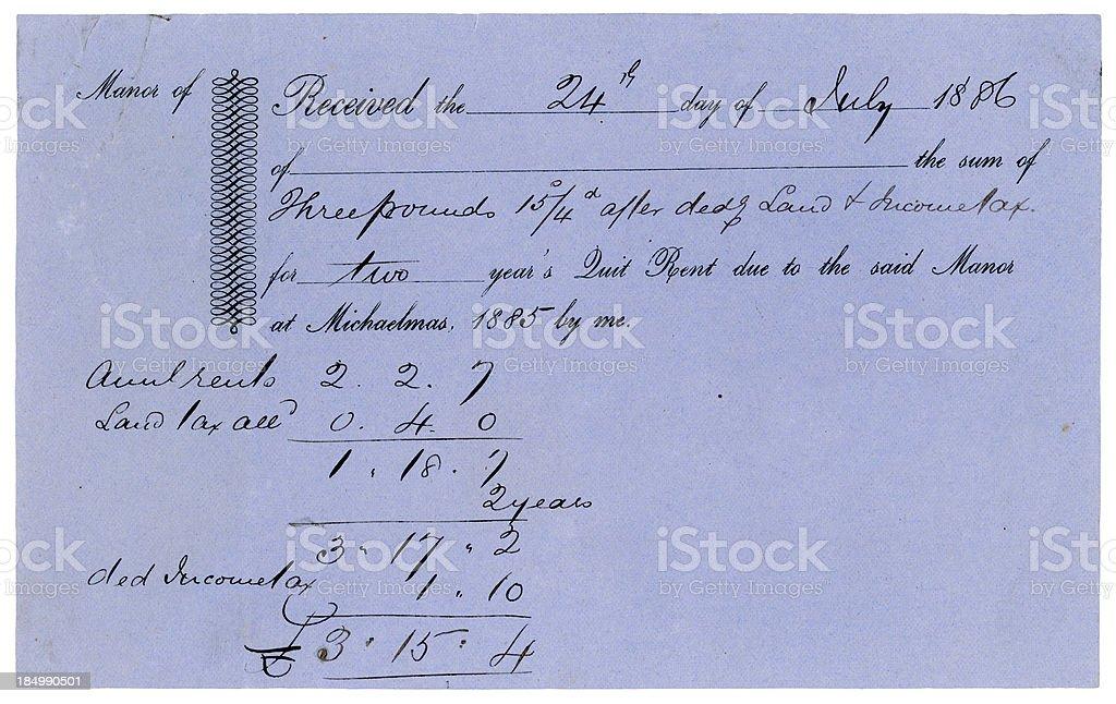 Quit Rent receipt, 1886 royalty-free stock photo