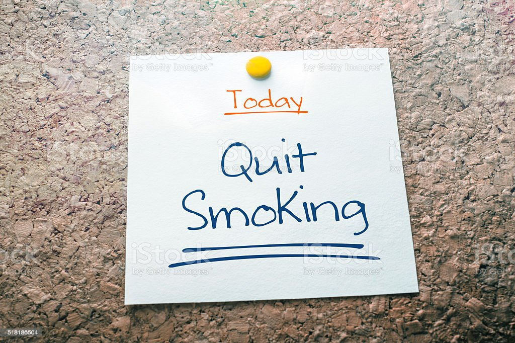 Quit Smoking Reminder For Today On Paper Pinned On Cork stock photo
