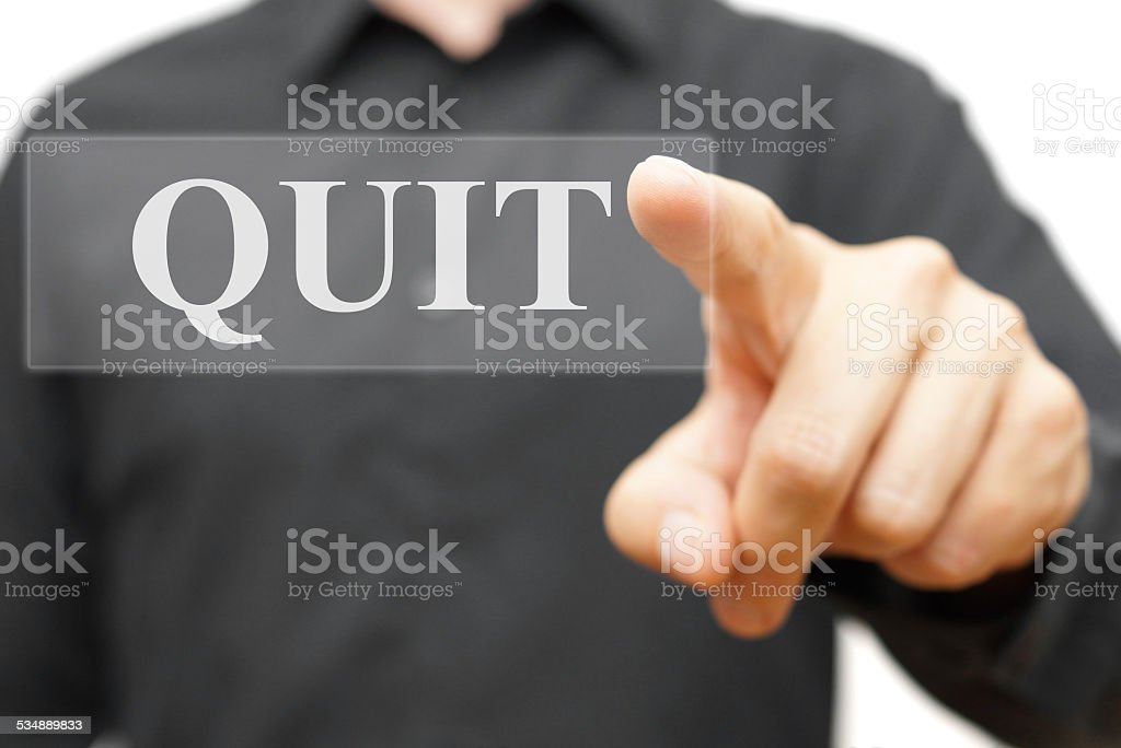 Quit word on virtual screen stock photo