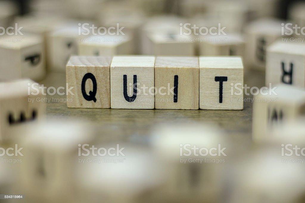 Quit word stock photo