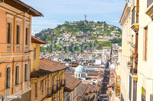 High angle view t in old town of Quito on sunny day.