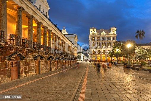 Night scene of Plaza Grande (Plaza de la Independencia) in Quito, Ecuador featuring Carondelet Palace (Palacio de Carondelet), the seat of Ecuador government.