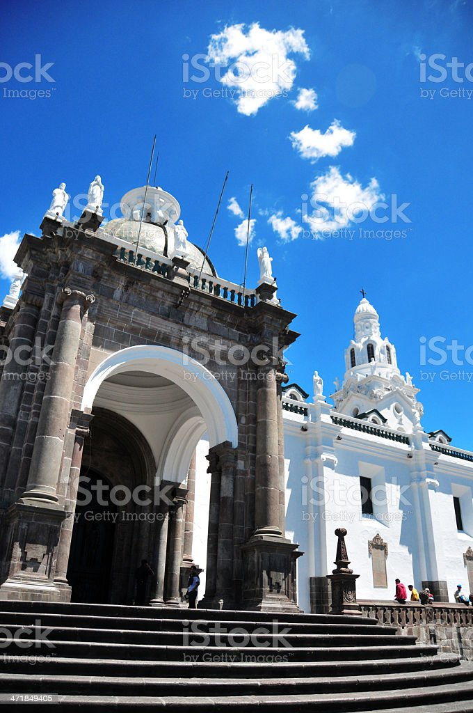 Quito, Ecuador: porch and foliated staircase of the Metropolitan Cathedral royalty-free stock photo