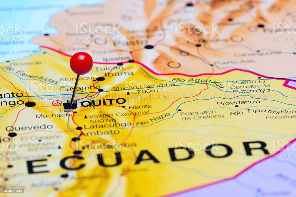 Quito pinned on a map of America stock photo