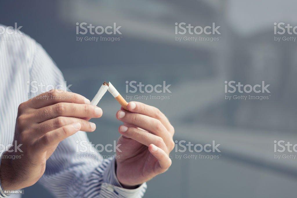 Quitting smoking habit! stock photo