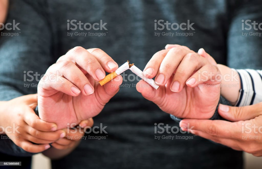 Quitting Smoking With Support Of Family stock photo