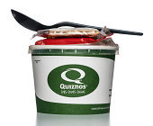 Quiznos soup cup with crackers and spoon